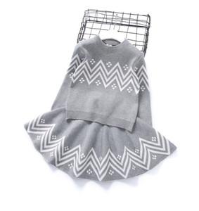 فتاة ملابس وقت الفراغ للأطفال جو كم رئيس الكشمير سترة الأطفال الخارجية الحياكة التنورة القصيرة الإنجليزية اثنان من قطعة 0201