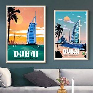 아랍 에미리트 두바이 여행 AD 캔버스 회화 빈티지 벽 크래프트 포스터 코팅 벽 스티커 홈 장식 그림 선물