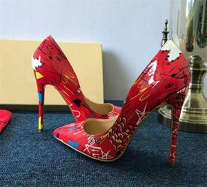 Hot Sale-0cm 12 centimetri alti calza inferiore rossa vera pelle nuda Color Point Toe Pumps gomma può essere customi