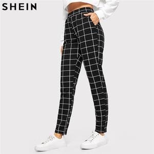SHEIN Manta Preta Meados Da Cintura Skinny Calças de Cenoura Outono Mulheres Casual Slim Fit Vertical Mulheres Lápis Streetwear Calças