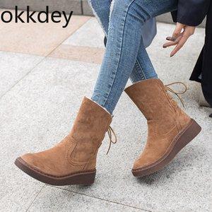 Okkdey Kış Süet Sıcak Kar Ayakkabı Kadınlar Bot Orta Buzağı Peluş Kürk Kadife Boots Kadın Patik Ayakkabı Tie Kalın Orta önyükleme Kadın