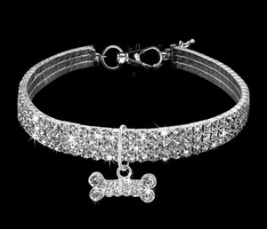 Bling Rhinestone Pet Dog Cat Collar Кристалл Щенок Чихуахуа ошейники Поводок для малого среднего Собаки Mascotas Diamond Jewelry Free Ship