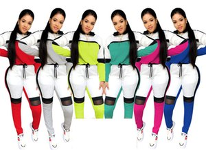 Donne della molla Tute Mesh Patchwork blocco di colore della caramella due parti ha regolato con cappuccio Top Pantaloni Leggings casual vestito di sport abbigliamento sportivo D21901 caldo