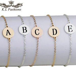Fashion 26 Bracciale della lettera iniziale oro braccialetti dell'acciaio inossidabile regolabile inglese Bracciale Alfabeto per i monili delle donne Gifts