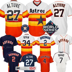 27 Jose Altuve Houston Jersey Astros 2 Alex Bregman 34 Nolan Ryan 7 Craig Biggio 4 George Springer Beyzbol Formalar