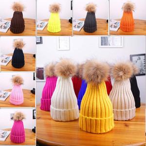 Родитель Дети зима теплая Hat Cap для детей взрослых Гибкость вязания цвета конфеты с Fur Ball Family Beanie Hat