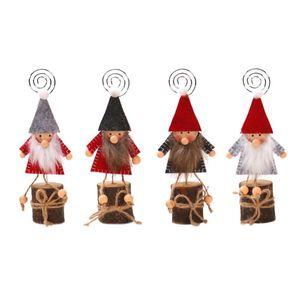 Wood Doll Business Card Holder Photo Clip Desktop Ornaments Christmas Decor