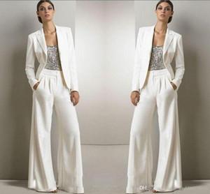 2020 Yeni Bling Pullarda Fildişi Beyaz Pantolon Suit Annesi gelin Biçimsel şifon Smokin Kadınlar Parti Giyim Yeni Moda Modest