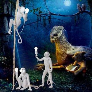 Moderna in resina nera Scimmia lampada Loft Style corda della canapa Lampadari a sospensione Illuminazione Scimmia lampada nero appeso soffitto di trasporto Calendario libero