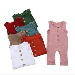Bebek Tulumu Erkekler Kızlar Katı Kolsuz Tulumlar Çocuk Casual Düğme bodysuit Pantolon Çocuk Onesies pijamalar Payamas tırmanın Suit AYP408