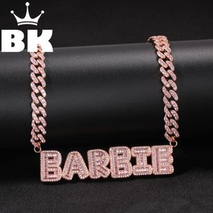 HIP HOP Custom Small Baguette Letter Pendant with pink 9mm chain Necklace Combination Words Name Zirconia Jewelry