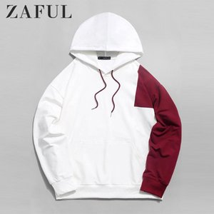 ZAFUL coton Sweats à capuche Sweat Hommes / Femmes Color Block épissé Pull poche kangourou overs Hip Casual cool Streetwear