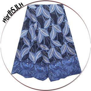 Последние поступления 2021 шнур кружевная ткань 5 ярдов Африка камни африканские свадебные кружевы ткани высокое качество для нигерийского платья