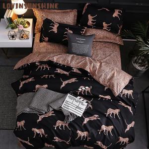 LOVINSUNSHINE capa de edredão, Rei, Rainha tamanho Consolador Define Leopard Printing Bedding Set AB # 196 Y200111