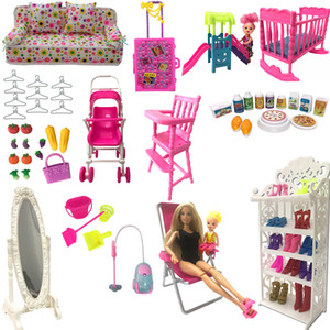 Mix Style Dollhouse Sedie Shoes Rack Specchio Hanger Slide per Barbie Doll Furniture Accessories Accessori 1:12 Giochi da gioco fai da te
