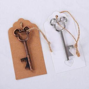 50pcs / Lot Новый дизайн брелок Творческий брелок Брелок Свадебные сувениры партии Назад Подарки Antique Copper Mouse Key бутылки пива открывалка