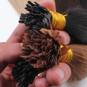 Extensiones de cabello con punta de abanico Remy de doble cuticule completo Extensiones de cabello 1 g / hebra 100 hebras / lote Cabellos con punta de abanico de color rubio