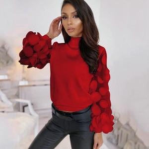 Femmes Spring Shirt lâche feuilletée manches longues maille rouge top femme turtleneck occasionnel élégant bureau dames pullover et blouses pour femmes