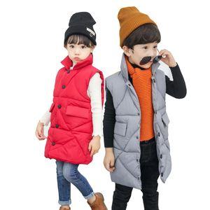 Дети зима длинного жилета мальчика верхняя одежда пальто новых девушек жилет младенческая детская жилет без рукавов дети жилет ветровая куртка # 112dfs