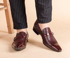 Italy Handmade formal shoes men Fashion Party Wedding Office Male Dress Shoe Genuine Leather oxford shoesDA7
