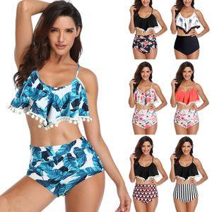estampado de flores las mujeres traje de baño atractivo Bikinis el sistema retro del volante de bikini de talle alto del cuello del halter del traje de baño de dos piezas MMA1873