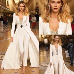 2020 Berta Jumpsuits Vestidos de Noiva V Pescoço Mangas compridas Uma linha vestido nupcial Plus Size Beach País Simples Vestidos de casamento BC3057