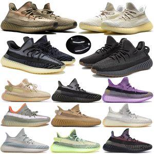 Stockx Terre Cinder désert Kanye West Yecheil Yeshaya Noir statique réfléchissant V2 Chaussures de course Glow Clay Zebra Hommes Femmes baskets styliste
