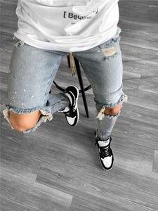 Erkek Kot Yeni Bahar Sonbahar Hommes Kalem Pantolon Pantalones High Street Streç Erkekler Tasarımcı Jeans