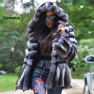 Furealux réel naturel Rex Manteau de fourrure de haute qualité 100% Véritable Rex fourrure couleur chinchilla Veste d'hiver