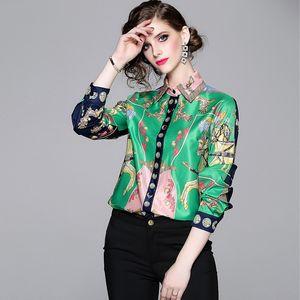 2019 Yeni Pist Sonbahar Moda Bağbozumu Baskı Bluzlar Gömlek Zarif Uzun Kollu Şifon Bluz Kadınlar Casual Gevşek Iş elbisesi Tops