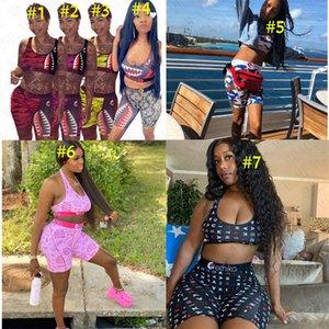النساء مصمم العلامات التجارية ملابس القرش الوجه التعادل البرازيلي + السراويل السباحة المايوه جذع السراويل الصيف ملابس 2 قطعة بيكيني مجموعة D61514