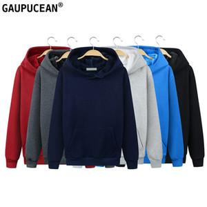 Gaupucean Mann Kapuzen-Sweatshirt Qualitäts-Baumwolle Winter-Dickes Fleece Navy Grau, Rot, Schwarz Fronttasche Langarm Männer Hoodie