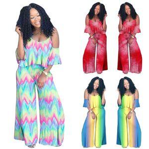 Gradiente Tie-Dye Imprimir Conjuntos V-neck Sling Vest Cortar Top + Falbala Pants Calças 2 Piece Set Bohemian Projeto Camisole Treino roupa