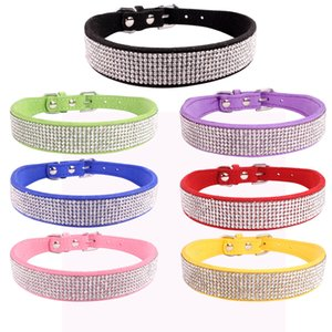 XS S M L Collars Bling Rhinestone Dog Collars Pet PU Leather Crystal Diamond Puppy Pet Collar And Leashes For Dog Accessories