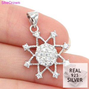 2018 Real 925 Solid Sterling Silver 10ct Compass Cubic Zirconia Gift For Girls Woman's Pendant 25x16mm