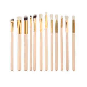 12pcs Laine Nylon Bristle poignée en bois maquillage brosse cosmétiques couleur Nude Rose d'or Pinceaux yeux
