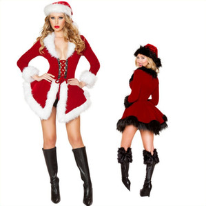 Costumes de Natal Womens Top manga comprida Chapéu do Natal Costumes Desempenho Top Cosplay Festival roupa sexy Jogo do Natal