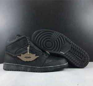 o novo esporte Alto 1 Mid Destemido Edison Chen cetim de seda retro Basquetebol preto Sapatos Homem Sneakers Com Box