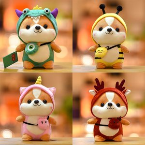 High quality Cartoon Creative Turned Dinosaur Cute Squirrel Plush Toys Wearing Elk Clothes Squirrel Christmas Gifts Kiids Toys