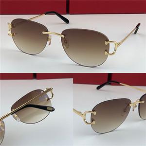أفضل بيع بالجملة أزياء في الهواء الطلق نظارات شمس 0102 بدون إطار جولة إطار الرجعية الطليعي تصميم UV400 لون فاتح النظارات الزخرفية