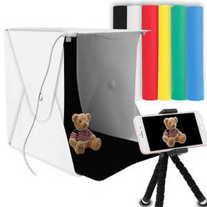 """8"""" Portable Photo Studio Light Box 2 LED Panels 6 Colors Backdrops Mini Foldable Photo Light Box Shooting Photography lightbox T200610"""