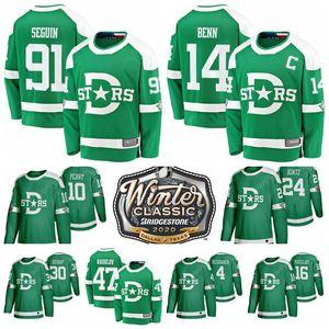 2020 Winter Classic Dallas Stars de Tyler Seguin Jersey Jamie Benn Ben Bishop Roope Hintz verde de hockey sobre hielo de los jerseys cosido