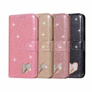 Сердце Любовь кожаный бумажник чехол для Iphone 11 XS MAX XR X 8 7 Plus 6 SE Искорка Luxury Алмазный Bling Блеск Блестящий откидная крышка Magnetic Unique