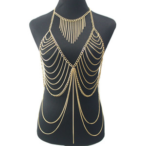 Sexy Lady's Layered Crossover Body Chain Gold Color Multilayer Tassel Necklace Bikini Waist Belly Chain Boho Jewelry