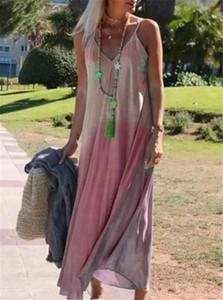 Womens Gradient Print Designer Sleeveless Dresses Fashion Spaghetti Strap Long Casual Dress V Neck Loose Womens Clothing