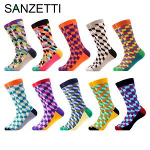 SANZETTI 10 пар / серия Мужская Красочные Весёлые Геометрические Новый Носки Happy хлопок Crew Socks Повседневный Hip Hop Fun Длинные носки T190918