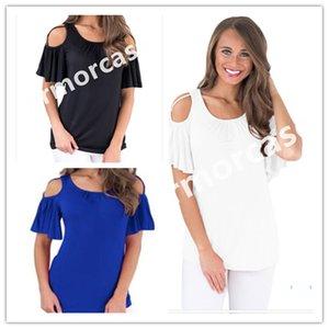 Womens T Shirt Ruffle A spalle manica corta T-Shirt Top femmine Solido Colore Tee estate sexy manica Bare camicetta casual CZ401