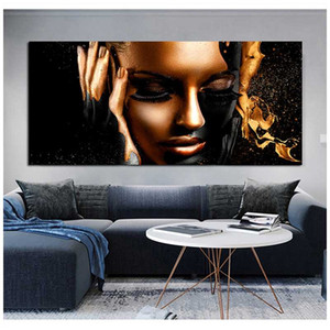 Big Size Diamond Embroidery Abstract Gold Black African Woman 5D Diamond Painting full Cross Stitch Mosaic rhinestoneZP-267