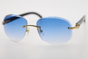 2020 Оптовые новые Rimless Черные цветы Buffalo Horn Солнцезащитные очки Оригинальные 8200764 Мода Марка Очки открытый дизайн классической модели