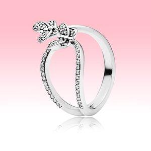 Nueva mariposa brillante Anillo abierto Mujeres Grils Joyería de verano para Pandora 925 Sterling Silver CZ Diamond Anillos de boda con caja original